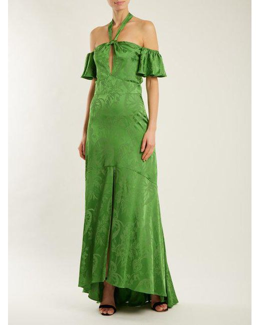 In China For Sale Sale Really Orbit tie-neck leaf-jacquard satin gown Temperley London Clearance Best Wholesale U9J0ASM