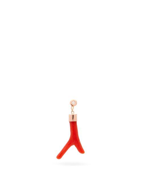 Jacquie Aiche ダイヤモンド コーラル 14kローズゴールドシングルピアス Red