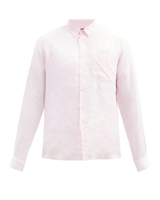メンズ Vilebrequin カロビス リネンシャツ Pink