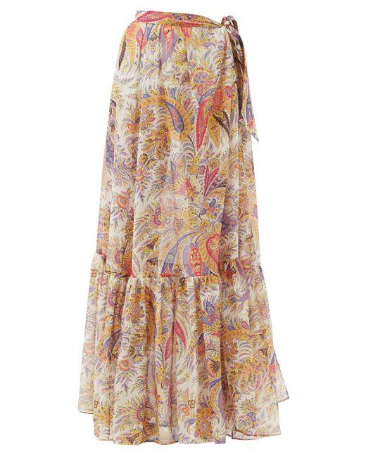 Etro ザンテ ペイズリー コットンシルク マキシスカート Multicolor
