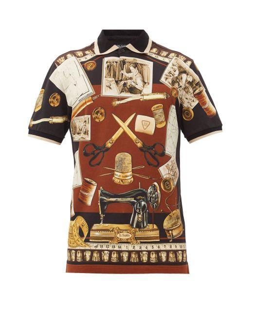メンズ Dolce & Gabbana イラストプリント コットンピケポロシャツ Multicolor
