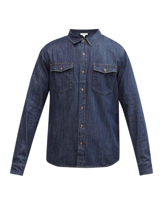 メンズ FRAME パッチポケット デニムシャツ Blue