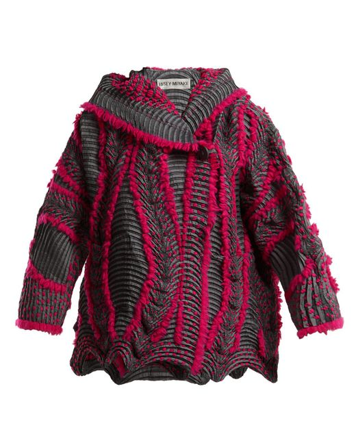 Issey Miyake - Pink Eagle Pleated Hooded Jacket - Lyst