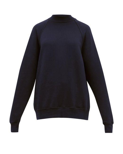 Les Tien ハイネック ブラッシュドバックコットン スウェットシャツ Blue