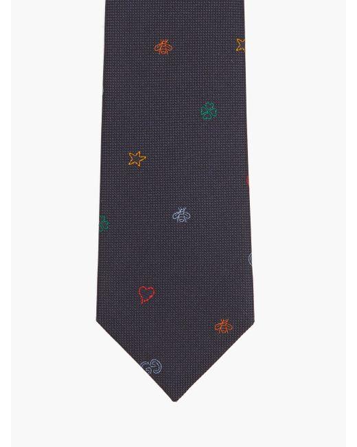 Gucci Blue Symbols-jacquard Silk-twill Tie for men