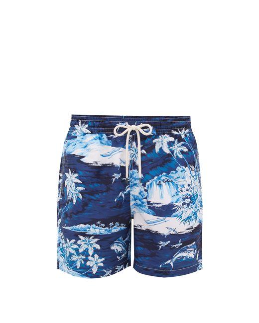 Polo Ralph Lauren Blue Flying Fish Tropical Wave-print Swim Shorts for men