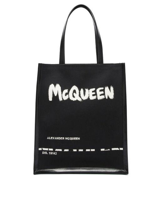 メンズ Alexander McQueen ロゴ キャンバス&レザートートバッグ Black