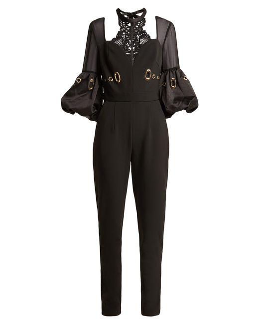 Self-Portrait - Black Balloon Sleeve Lace And Crepe Jumpsuit - Lyst