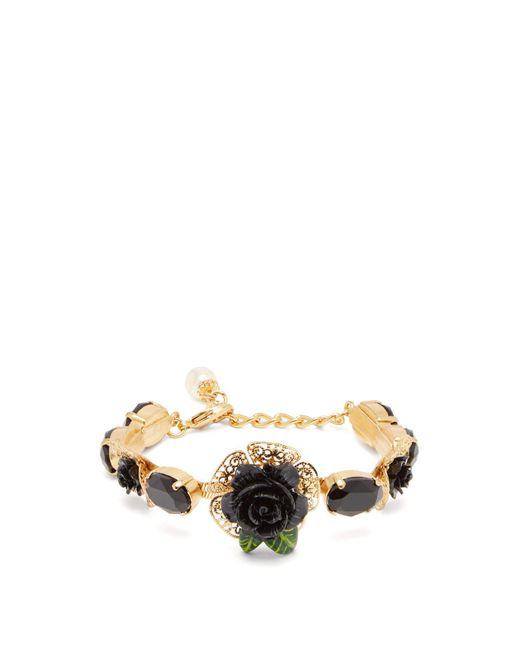 Dolce & Gabbana - Black Rose Appliqué Bracelet - Lyst