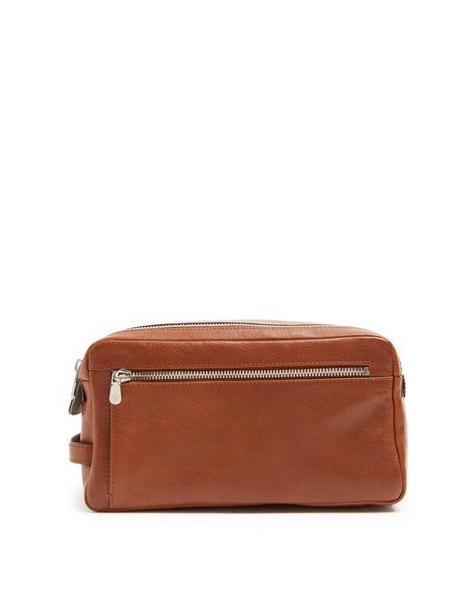 Brunello Cucinelli | Brown Grained-leather Washbag | Lyst