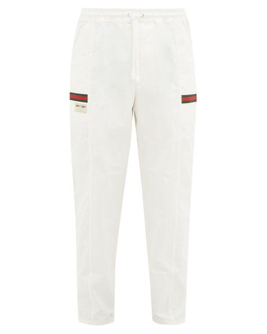 メンズ Gucci ウェブストライプ コットントラックパンツ White