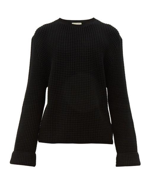 メンズ Bottega Veneta ワッフルニット コットンカシミア セーター Black