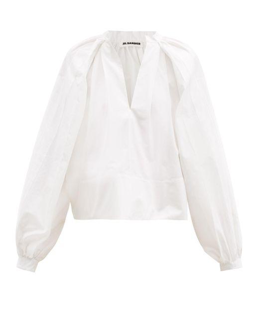 Blouse en popeline de coton à manches ballon Jil Sander en coloris White