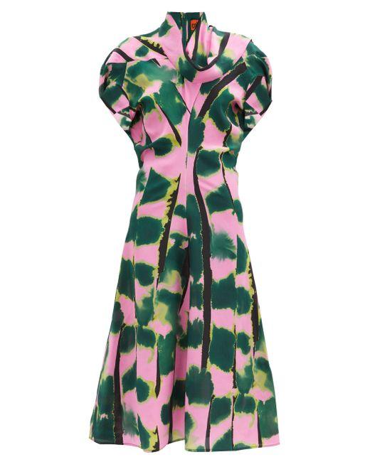 Colville タイガーテール シルククレープドレス Green