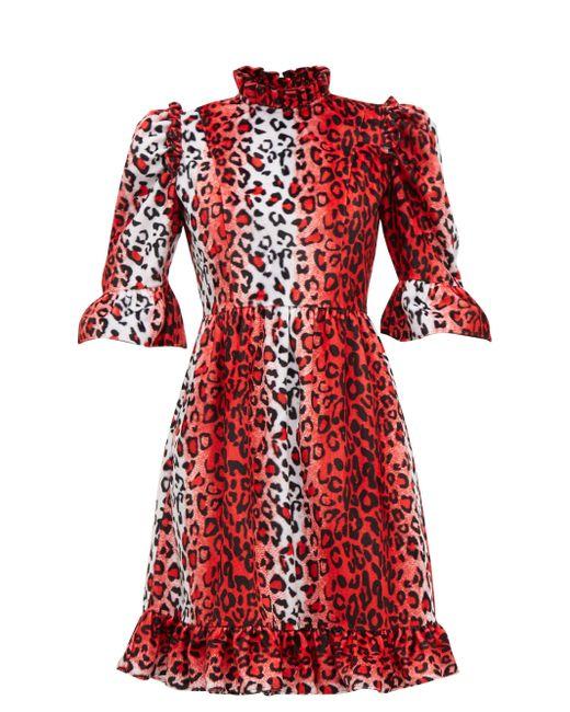 BATSHEVA ラッフル レオパード ベルベットドレス Red