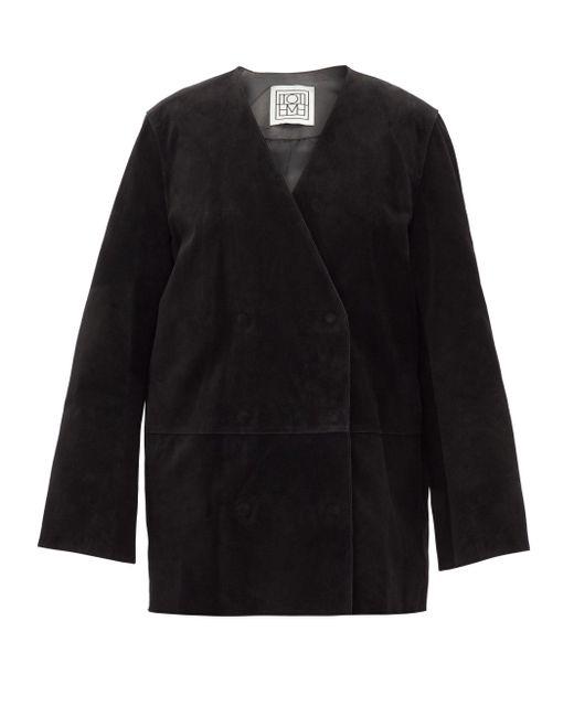 Totême  Totême オーバーサイズ スエードダブルジャケット Black