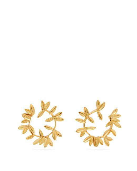 Oscar de la Renta - Metallic Dot Leaf Hoop Earrings - Lyst