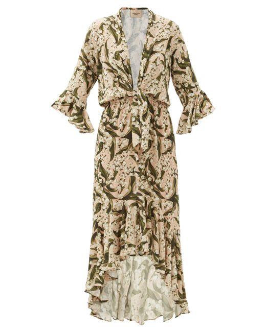 Adriana Degreas フローラル クレープドレス Multicolor