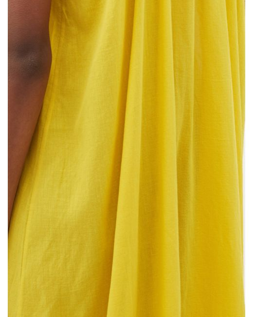 Loup Charmant タイストラップ オーガニックコットンマキシドレス Yellow