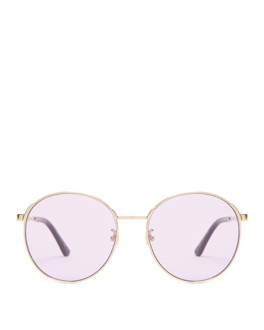 9b5d42f2a10 Gucci - Multicolor Round Frame Metal Sunglasses - Lyst ...