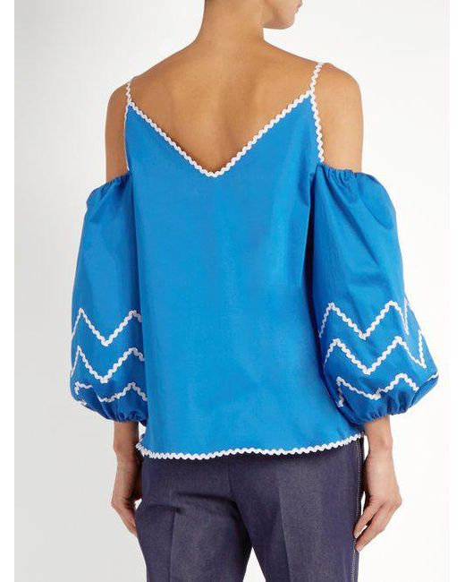 Ric-rac cotton-poplin top ANNA OCTOBER Sale Best Prices Fashionable Cheap For Nice For Cheap Price kXTWNjVxEs