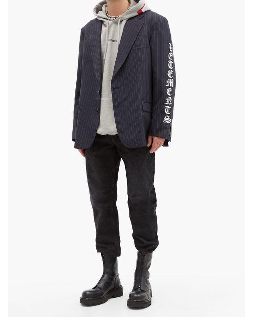 メンズ Vetements ゴシックロゴ ピンストライプ ウールシングルジャケット Blue
