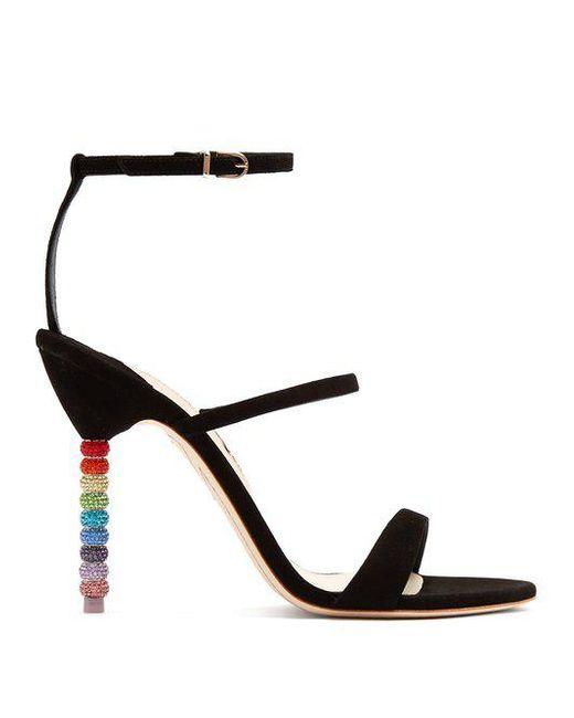 Sophia Webster - Black Rosalind Crystal Embellished-heel Suede Sandals - Lyst