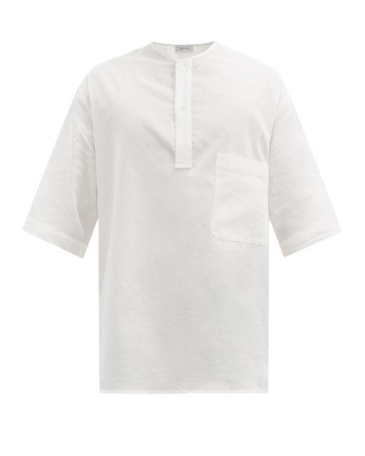 メンズ Lemaire ショートスリーブ コットンガーゼ ヘンリーシャツ White