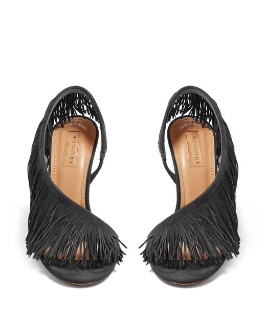 033f4208def ... Aquazzura - Black Cosmic Pearls Velvet Over-the-knee Boots - Lyst ...