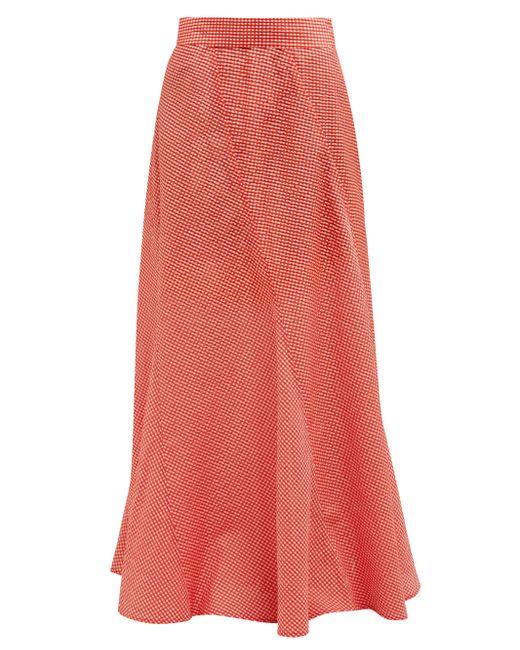 Ganni Red Panelled Gingham Seersucker Maxi Skirt