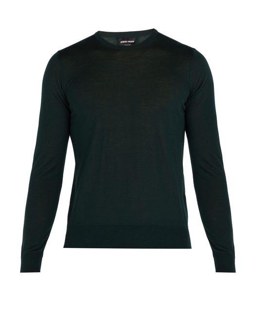 Giorgio Armani - Green Fine Knit Wool Sweater for Men - Lyst