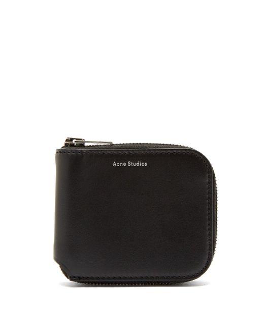 Acne Black Kei S Leather Zip-around Wallet