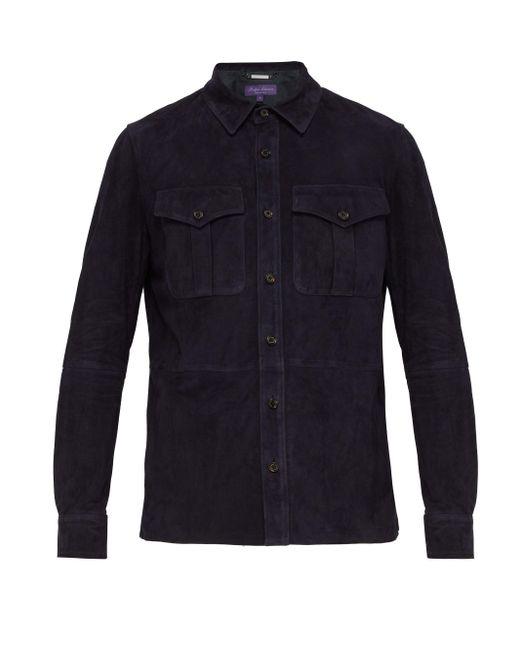 メンズ Ralph Lauren Purple Label バロン スエードオーバーシャツ Blue