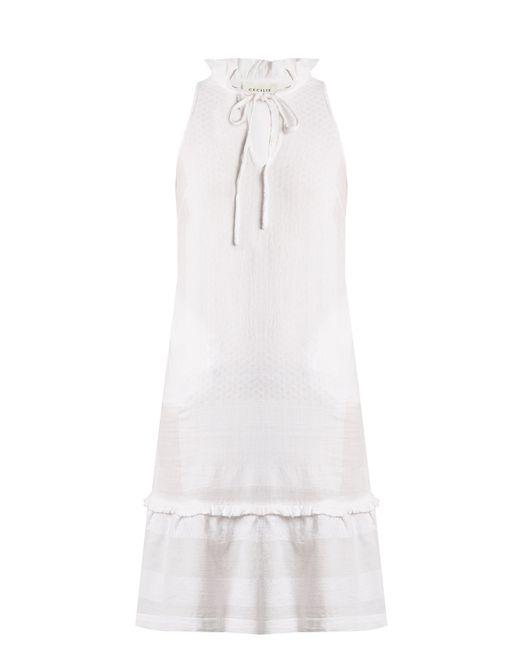 Cecilie Copenhagen - White Tie Neck Scarf Jacquard Cotton Dress - Lyst