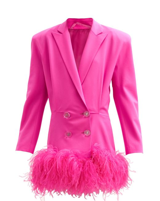 The Attico フェザートリム バージンウール ミニジャケットドレス Pink