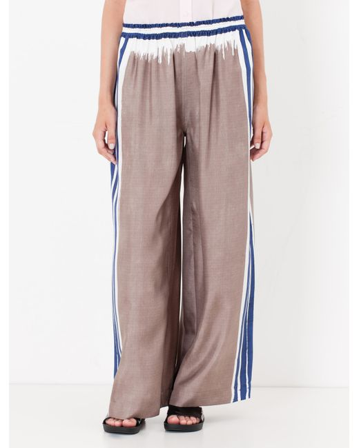 Max&co. Silk Twill Palazzo Trousers in Gray (Dove-Grey ...