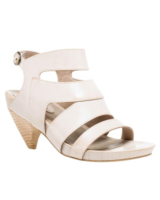 Leon Max - White Manila : Waxed Leather Curved Heel Sandals - Lyst