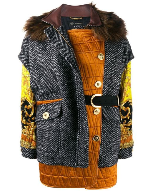Versace Multicolor Wool Outerwear Jacket