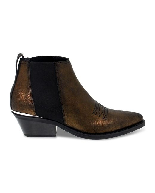 Janet & Janet Brown Bronze Leather Ankle Boots