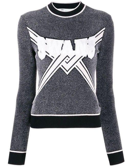 Off-White c/o Virgil Abloh Gray Knitted logo top