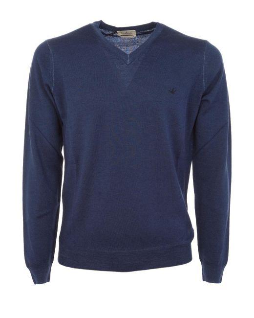 Brooksfield Blue Wool Sweater for men