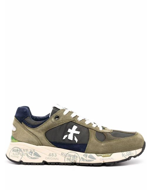 Premiata Green Leather Sneakers for men
