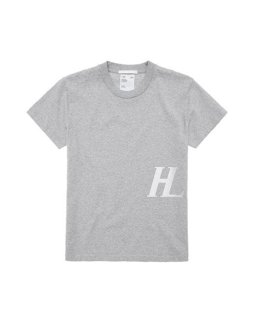 Helmut Lang Gray Logo Print Crewneck T-shirt