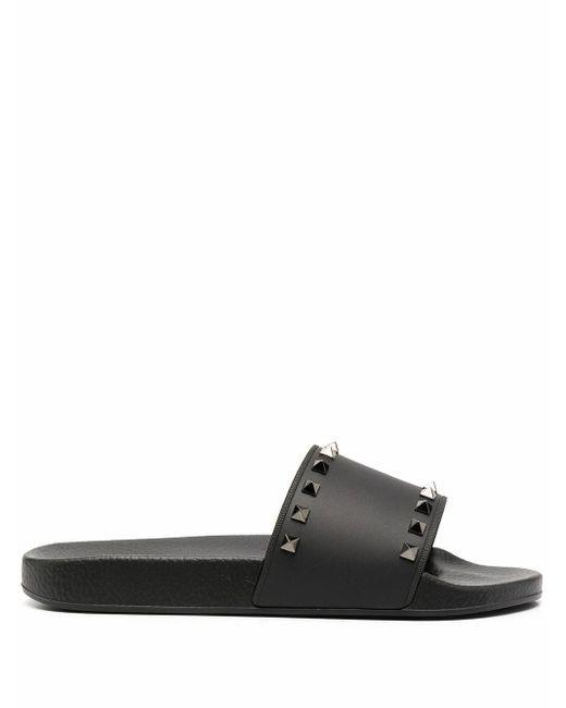 Valentino Garavani Black Leather Sandals for men