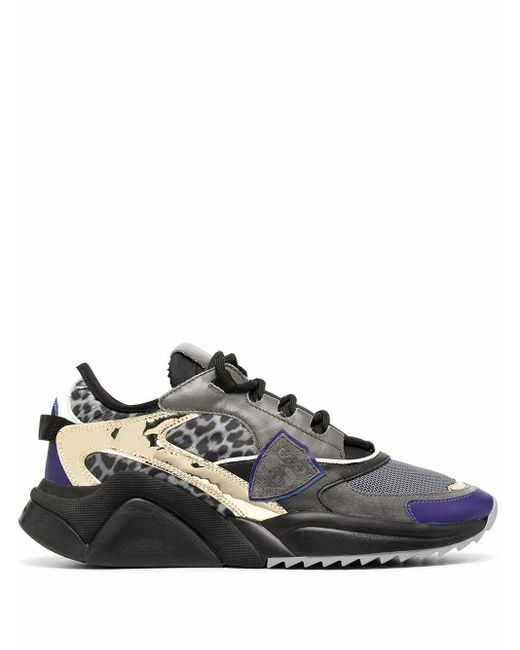 Philippe Model Gray Leather Sneakers