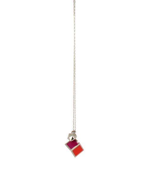 Fendi Metallic Silver Metal Necklace