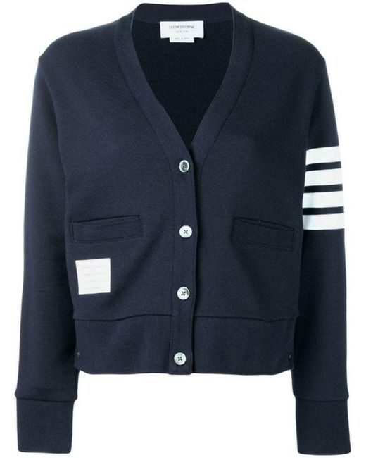 Thom Browne Blue Striped Sleeve Cardigan