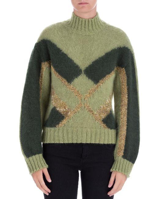 Alberta Ferretti Green Wool Sweater