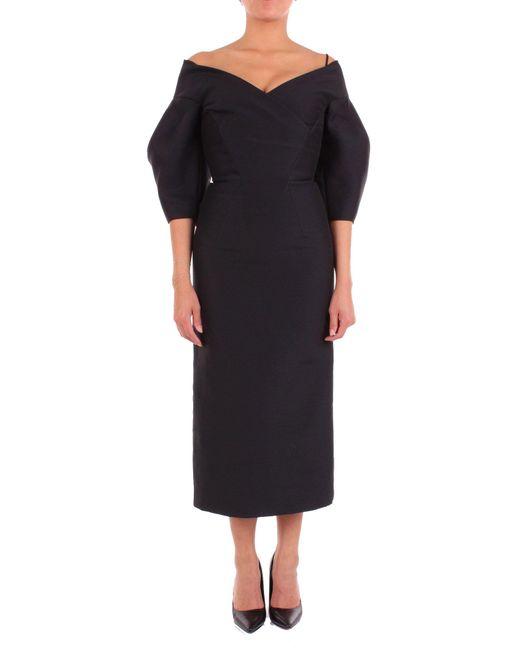 Alberta Ferretti Black Wool Dress