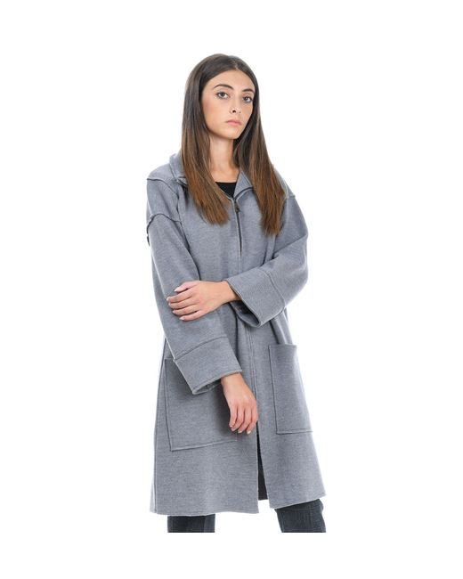 Alpha Studio Gray Grey Wool Coat